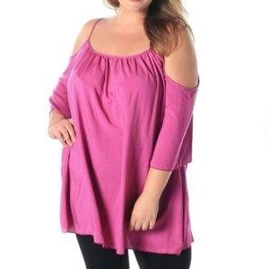 Charming Lilac Cold Shoulder Plus Size Top